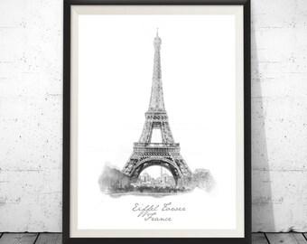 Eiffel Tower Print, Paris Wall Decor, Paris Photo Black and White, Paris Black Print, Black Print, Printable architectural drawing, Travel