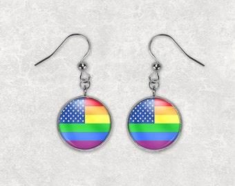Rainbow Flag Earrings Gay Pride Jewelry 16mm RFE16