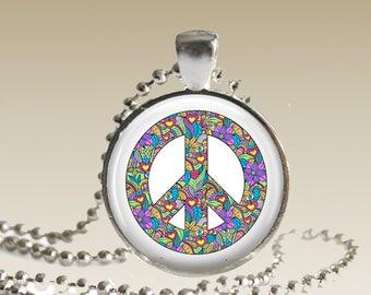 Peace Sign Necklace Peace Jewelry Colorful Peace Sign Pendant