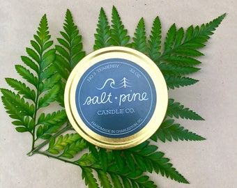 SALT + PINE | No. 3 Teaberry | Scented Handmade Soy Candle in 4 oz. Tin