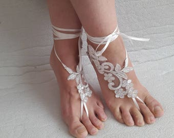 barefoot sandals,bridal accessories, ivory,lace shoes,wedding sandals,shoes, free shipping! Anklet,bridal sandals,bridesmaids,wedding gifts.