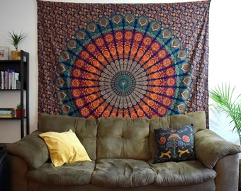 Wall Tapestries // Bohemian Tapestry // Boho Decor // Wall Art // Mandala // Queen Size // Dorm Room Decor // Queen Sized // Gypsy Bed Cover