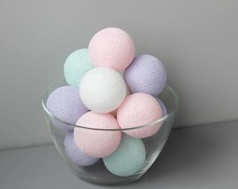 READY TO SHIP! Mint Green, Soft Pink & Purple Cotton Ball Light | Handmade Garland
