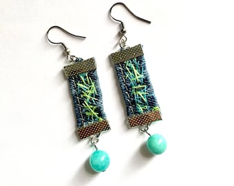 Denim earrings Bohemian earrings