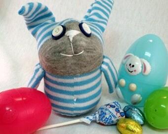 Berry S. Whirl Bunny, Sock Bunny, Bunny Plush, Handmade Bunny, Easter Bunny, Striped Bunny, Boy Bunny, Sock Rabbit, Rabbit Stuffed Animal