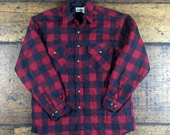 Vintage Basic Editions Workwear Flannel Insulated Plaid Button Up Shirt Jacket