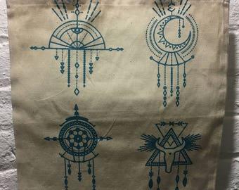Dark Turquoise Western Tote Bag