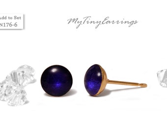 Dark Navy Blue 6mm Stud  Earrings Round Epoxy Resin Mini Gift for Her Gift for Him Gold Plated Stainless Steel Posts  N176-6