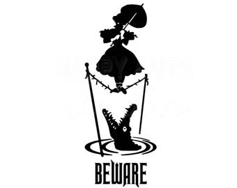 Beware Haunted Mansion Crocodile Tightrope Girl Matching Family Vacation Not So Scary Halloween Party Disney Iron On Vinyl Decal 4Shirt 333