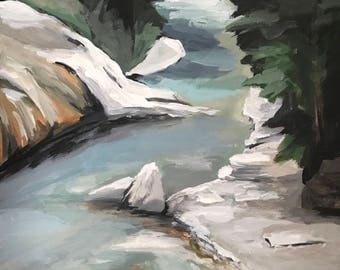 Canada Johnston Canyon in April - original acrylic painting