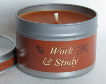 Work and Study Aromatherapy Candle of Pure Rapeseed Wax & 6 Pure Essential Oils