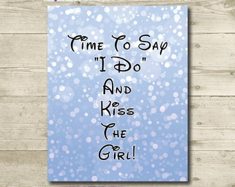 Disney Wedding // The Little Mermaid // Kiss the Girl // PRINTABLE // 8x10 // Disney Bridal Shower // INSTANT DOWNLOAD