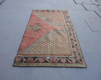vintage rug,hand made turkish rug,low pile rug,vintage oushak rug 42 x 25 inches,bohemian rug,muted color rug,area rug,outdoor rug,mat rug !