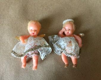 Pair of Vintage Teeny Weeny Plastic Angel Dolls
