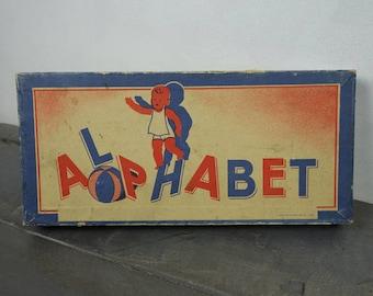 Vintage wooden alphabet game, wooden alphabet cube