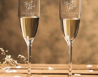 Engraved - She Said Yes Champagne Flutes (2pcs) - Personalized Toasting Flutes - DGI23-A19