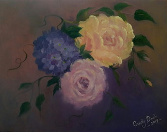 Original Oil Painting Roses and Hydrangea Native California Artist
