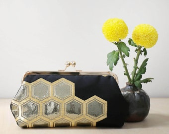 Kikko Hexagon Clutch In Black And Gold | Upcycled From Vintage Japanese OBI