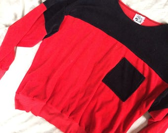 Vintage 80s Red Colorblock Pullover