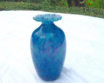 Guernsey studio glass blue handmade vase