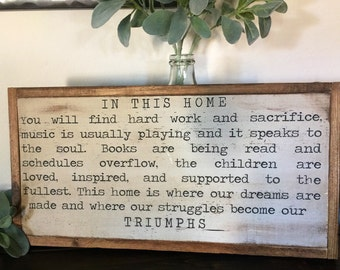 In This Home Wood  Sign, Family