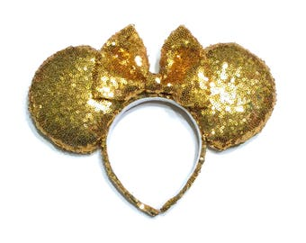 Gold Sequin Mouse Ears - Gold Minnie Mouse Ears Inspired - Mouse Ears Handmade - Sequin Mouse Ears - Yellow Gold Sequin Mouse Ears - Glitter