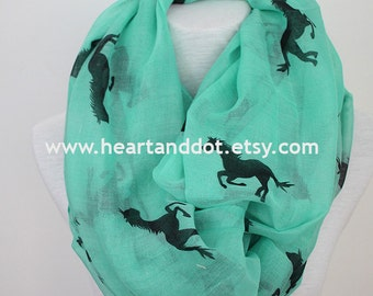 horse scarf, horse infinity scarf, gift for her, for women, scarf for her, scarf for women, christmas gifts, animal print scarf, for him