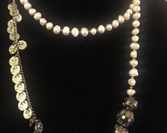 Iron coin chain and freshwater pearl double wrap necklace