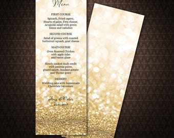 Gold Glitter Menu Card, Dinner Party Menu, DIY Menu Card, Instant download, Printable wedding menu, code-030