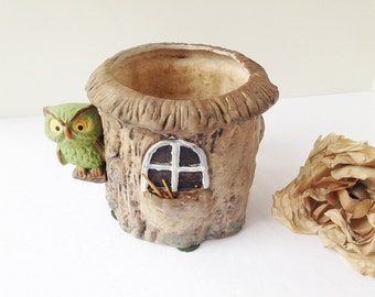 Vintage Owl Planter / Owl Succulent Planter / Vintage Bird Planter / Owl Plant Holder / Owl Flower Pot / Woodland Planter / Vintage Owl
