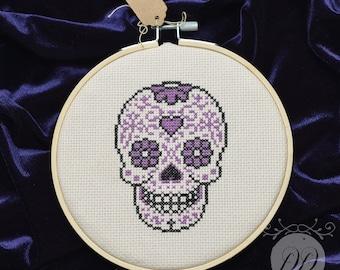Day of the dead sugar skull cross stitch - Día de los Muertos embroidery