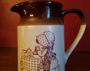 Holly Hobbie vintage stoneware pitcher, Hearthstone and Home Collection