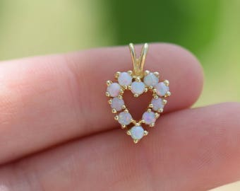 Vintage Opal Gemstone Heart 14 Karat Yellow Gold Charm, Used Vintage Boho Jewelry