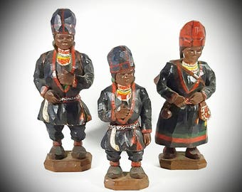 Carved Asian Figurines Set of 3