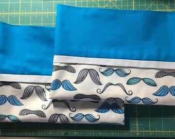 Blue Mustache Pillow Case