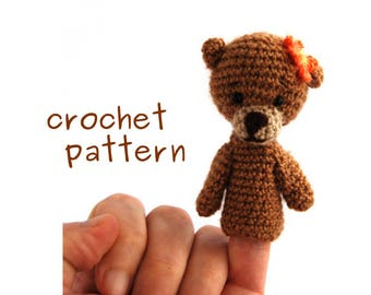 bear finger puppet crochet PATTERN, PDF Instant Download, how to make an amigurumi finger puppet, puppet tutorial, crochet animal tutorial