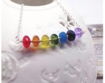 Rainbow Necklace, Rainbow Jewelry, Rainbow Jewellery, Statement Necklace, Rainbow Pendant, Pride Necklace, Chakra Jewelry, Gift For Her,
