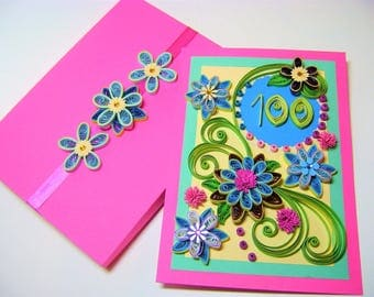 Quilling Card,Happy Birthday Card,Special Birthday Greeting Card,Anniversary Card,Floral Quiling Card,Pink Birthday Card,100th Birthday Card