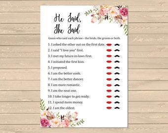 Boho Bridal Shower He Said She Said Game, Printable Floral He Said She Said, Boho Floral Guess Who Said It DIY Game, Instant Download, 110-W