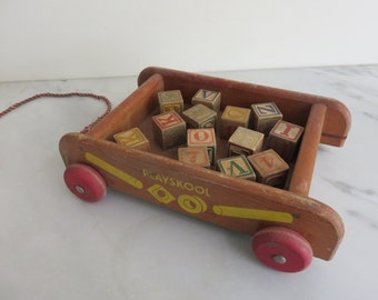 Vintage Wooden Pull Toy with Blocks
