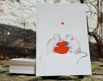 Post card - mouse love - postcard A6