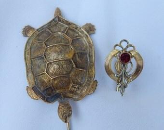 Edwardian Stick Pins, Turtle & Gold Filled