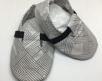 Baby Shoes, Crib Shoes, Baby Booties, Baby Boy Shoes, Baby Boy Booties, Handmade Baby Booties, Maze Grey Loafers