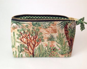 Cactus Fabric  handmade pouch, purse, bag, for makeup, cosmetics, toiletries. Southwestern Desert Americana Purse