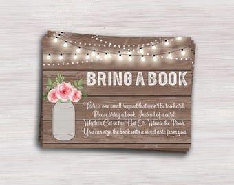 Bring A Book Instead Of A Card, Rustic Wood Mason Jar Baby Shower  Invitation Insert