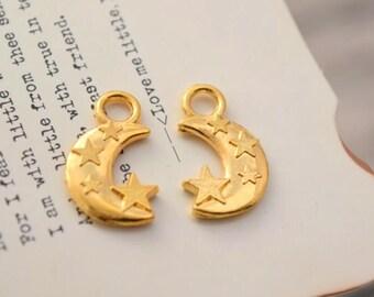 20 gold plated moon star charms  charm pendant pendants (YY01)