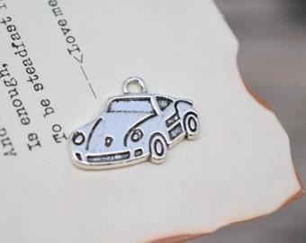 10 antique silver car charms sports car charm pendant pendants  (L01)