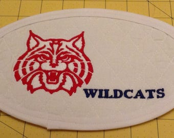 University of Arizona Wildcats Mug  Rug; XLarge Embroidered Quilted Coaster, handmade from White Cotton Double Diamond Quilting/Embroidery.