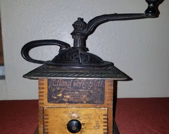 Antique Early American Parkers National Coffee Mill Coffee Grinder