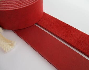 "3.5mm. / 9 oz Red Natural Geniune Leather Belt Blank Strip Strap Band. 51-55"" or 130-140cm. Various width"
